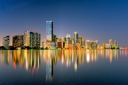 miami florida biscayne bay city skyline and shimmering ligths at night in 2009