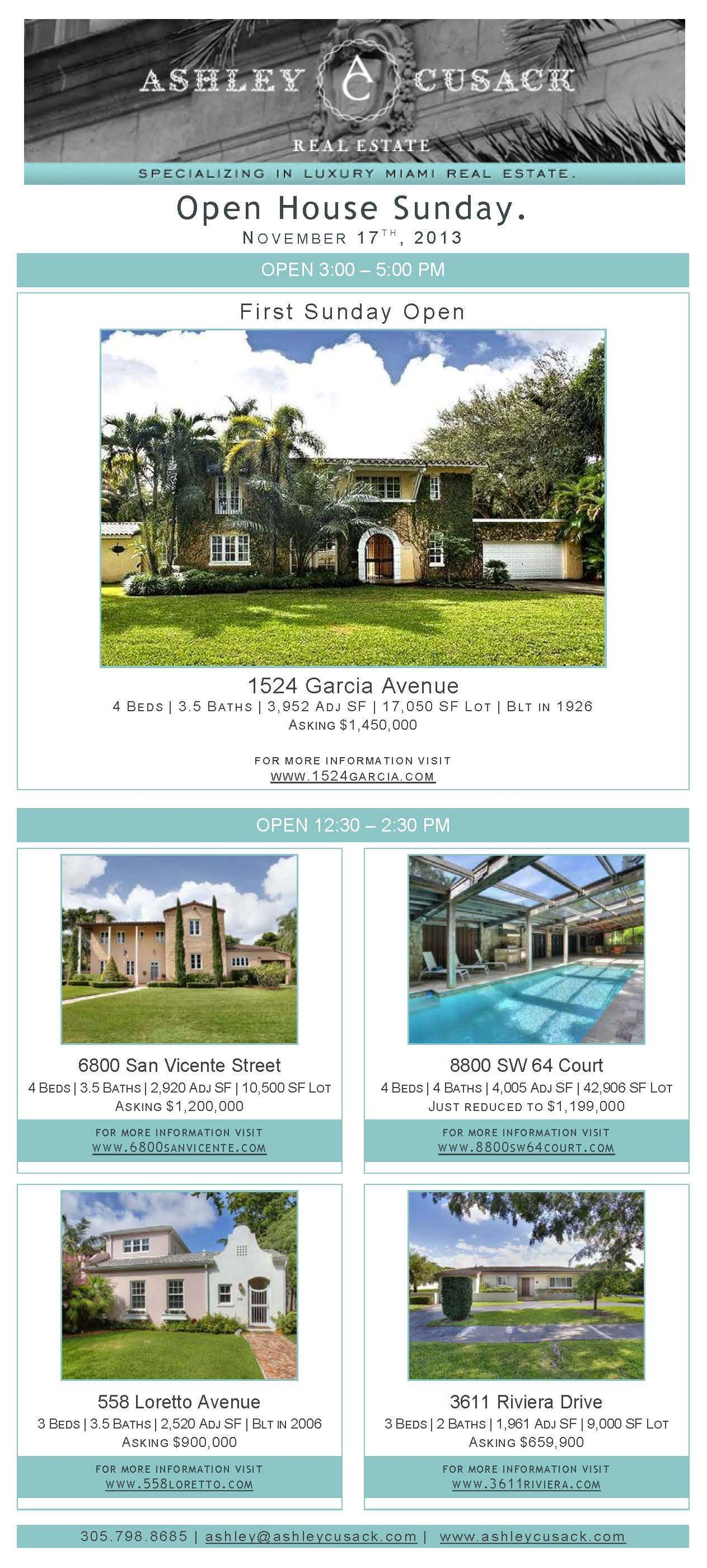 Sunday Open House Real Estate Coral Gables Ashley Cusack